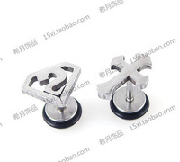 Titanium heterochrosis stud earring cross super man stud earring in ear accessories customize