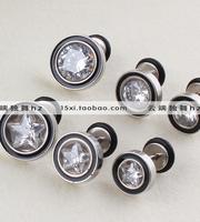 Titanium heterochrosis five-pointed star zircon stud earring in ear male stud earring medical steel earring earrings x1056