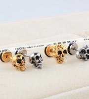 Titanium anti-allergic skull stud earring devil stud earring customize y1063