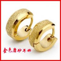 Titanium accessories male titanium stud earring punk ear buckle gold scrub earrings gift