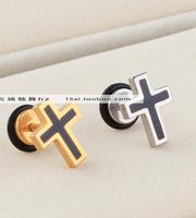 Titanium all-match black resin black cross stud earring in ear x1019