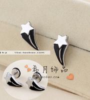 Titanium heterochrosis five-pointed star stud earring resin black five-pointed star stud earring y1057