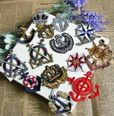 P0013 Free shipping,wholesale (mix design 10pcs/lot) Anchor Embroidery iron on patches(China (Mainland))