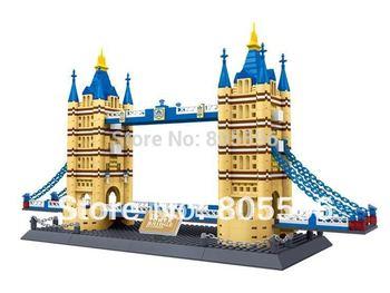 8013 tower bridge without original box Enlighten Building Block Set 3D Construction Brick Toys Educational Block toy