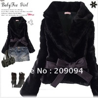 New Short Coat Women's Korean Style Outwear Belted Faux Fur Rabbit Hair free&drop shipping