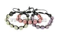 19 USD Free Shipping Resin Shamballa Bracelet, nylon cord with 9 pcs resin rhinestone beads & hematite, mixed colors, 12x12mm