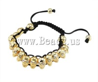 19 USD Free Shipping Fashion Shamballa Bracelet, wax cord with rhinestone zinc alloy skull beads, 8x13mm