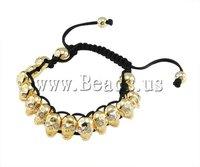 19 USD Free Shipping Fashion Shamballa Bracelet, wax cord with rhinestone zinc alloy skull beads, 8x13mm