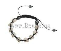 19 USD Free Shipping Turquoise Shamballa Bracelet, wax cord with skull turquoise beads & hematite beads, 9x12x11mm