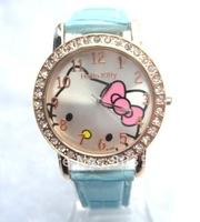 50pcs/lot EMS//New Big dial lovely hello kitty Watches Girls Ladies Wrist Watch Hellokitty Quartz watch Fashion Nice Gift watch