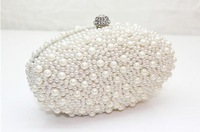Free Shipping New 2014 Designer Oval Shape Women Handbag Pearl Beaded Evening Bags Day Clutch Bag  ACET0150 Black Beige