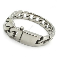 Christmas 15mm Huge Silver Fashion Bracelets Bangles Men Biker Curb Chain Stainless Steel Guarantee 100%