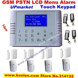 Upmarket touch keypad PSTN GSM alarm system wireless for home with LCD menu operation, internal antenna, DHL free shiping(Hong Kong)