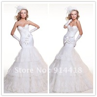 Freeshipping Promotion Sweetheart Wedding Bridal Tiered Lace Long White India Wedding Dress Up Games