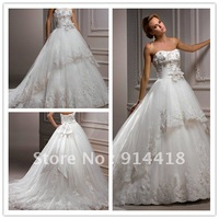Freeshipping Promotion Sweetheart Neckline Wedding Gown Dress Handmade Flowers Detachable Belt Tiered Wedding Dresses With Lace