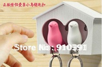 Free shipping Retail pack(1set=2birds)couple bird house with sparrow whistle key chain keyfob,bird keychains,family key holder.