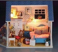 Free shipping Wooden dollhouse furniture sets Holiday gift  ,Wooden House Model Room decoration