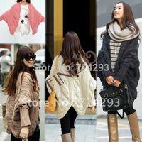 Korean Women's Bat-Wing Long Sleeve Loose Sweater Cardigan Outerwear 4 Colors free shipping 7824
