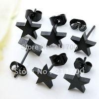 100Pcs Black Men's Stainless Steel Star Ear Stud Earrings Free shipping