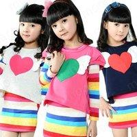 Комплект одежды для девочек 2013 NEW Spring Autumn Children Clothes, Child Clothing, Girls Sportswear Set With Bowknot Legging tz006