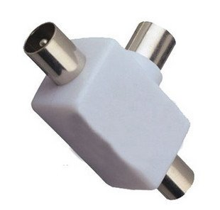 television 1 female to 2 male 9.5mm adapter / 9.5mm 2 way TV splitter 10pcs