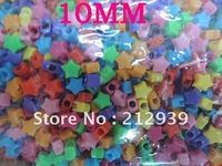 2012 New 10MM 2200Pcs A Lot Mixed Color Star Pony Acrylic Beads Opaque Crafts Rave Jewelry Bracelet, Necklace For Kid!