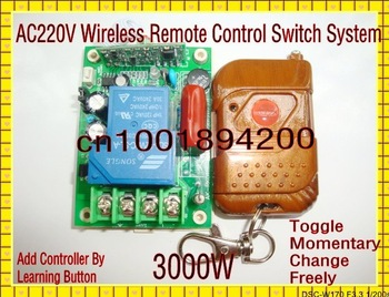 Free Shipping RF Wireless Remote Control Switch 220V 30A 3000W Transmitter&Receiver System for Light/Lamp LED water pump ON OFF