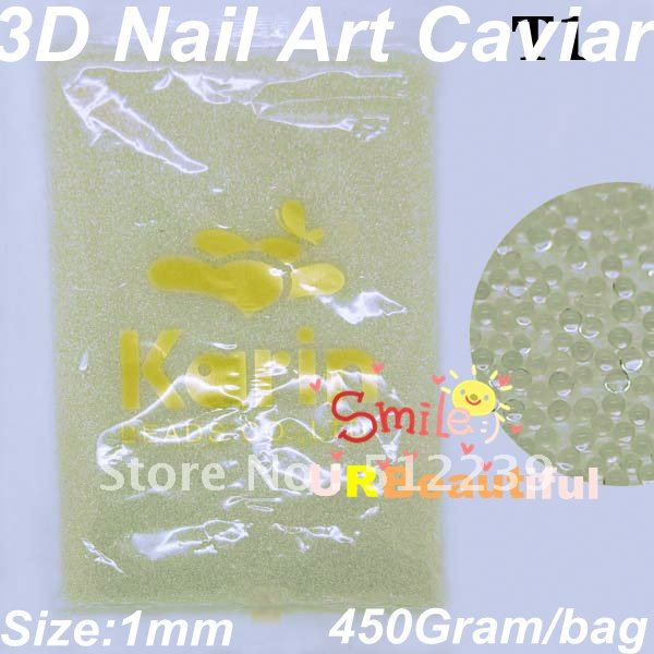 Free shipping T1 Whie colour 450 Gram Caviar Nail Art Beads Tiny Circle Balls Decoration 3D Nail Art Caviar Nail Art(China (Mainland))