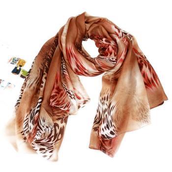 2012 mulberry silk leopard print long design scarf silk scarf female long silk scarf