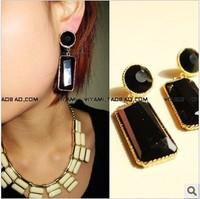 Borny vivi magazine vintage rectangle circle acrylic stud earring