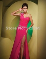 Free Shipping 2012 Hot Sale Sexy Fashion A-line Sweetheart One Shoulder Bead and Bow Chiffon Floor Length Prom Dress pd20120061