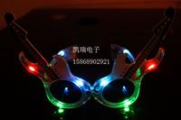 freeshipping 5pcs/lot  colorful guitar led flashing glasses masquerade party decoration mask