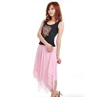 New Irregular bust  chiffon skirts pink bohemia medium  short  Skirt Free Shipping