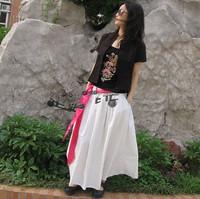 New 2013 women's linen expansion skirt bust skirt long skirt long white Free Shipping