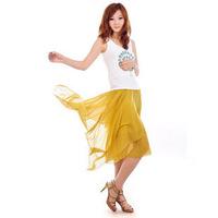 New Encryption lining irregular bust  chiffon skirts yellow bohemia medium  short  Skirt Free Shipping