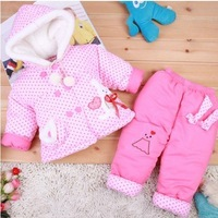 free shipping ! Baby girl children quilted jacket suit/thickening even cap brought suit