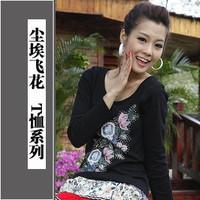 New Summer women's long-sleeve T-shirt Women slim t-shirt long-sleeve women's beading sympathize national trend Free Shipping
