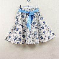 New Bust  short  linen  medium  bohemia puff  Skirt Free Shipping