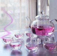 Free Shipping Chinese Tea Set 600ml Glass Coffee/Tea Pot+4 pcs Double Glass 50ml Cup+Warmer+Gift Box