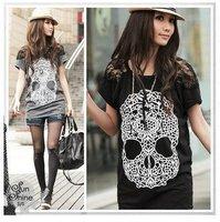2013 personality skeleton head printing joker back lace hollow short paragraph round neck short-sleeve  fashion ladies' T-shirt