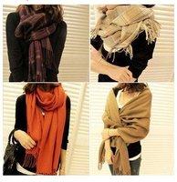 Winter women's fashion Wool Shawl dual-purpose long plaid pashmina scarf  12 Colors C0215