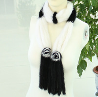 FS1468012 Women's Genuine mink fur scarf  Poncho Shawl  with fur flowers  10 Colors Top wholesale / retail / OEM