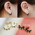 Free Shipping Western Style Trendy PUNK Rivet Arc-shaped Stud Earrings Black & Yellow, P1512