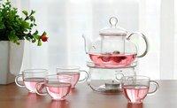 Free Shipping Classic Chinese Tea Set 600ml Glass Coffee/Tea Pot+4pcs Double Glass 50ml Cup+Warmer+Gift Box
