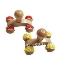 free shipping Mini wooden lumbar spinal cord 4 wheels massager tools 4pcs/lot