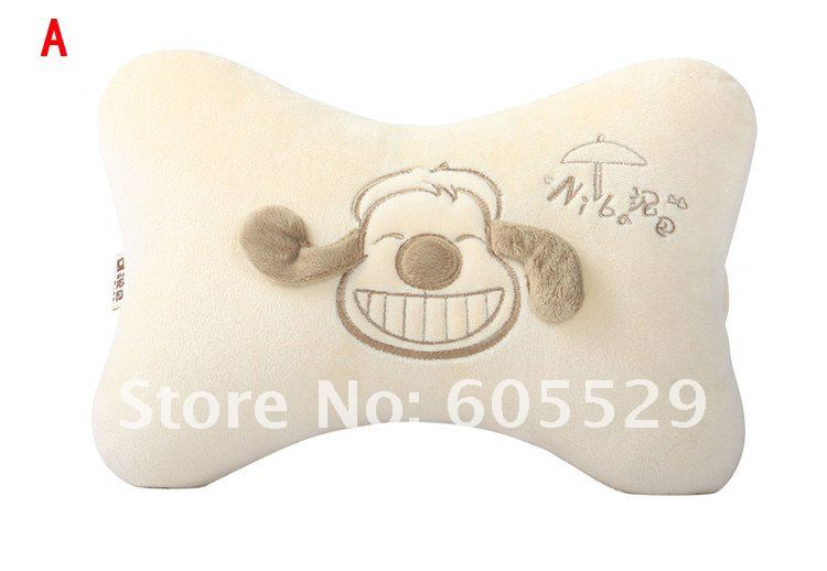 Wholesale Super soft bones flax hollow-fabric Car headrest neck pillow 3 pcs/lots(China (Mainland))