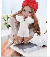 Freeshipping 3pairs New Fingerless arm Mitten Long Sleeve Gloves women's braided knit arm Winter warmer fur fingerless gloves
