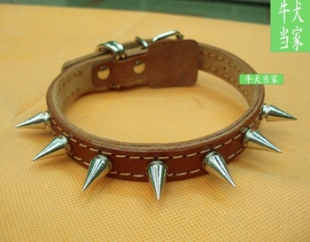 Collar belt spiked dog collar cowhide dog collar small dogs long steel dog ring collapsibility bc179 neck protection