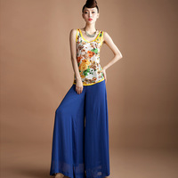 Women's blue wide leg pants summer casual pants female trend culottes long trousers k2010-7