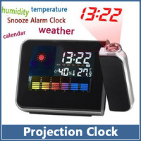 2pcs/lot Weather Multi-function Station Temperature Projection Alarm Clock Free Shipping